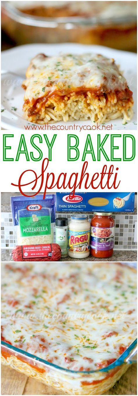 Easy Baked Spaghetti, also known as Spasagna. Original recipe from The Country Cook