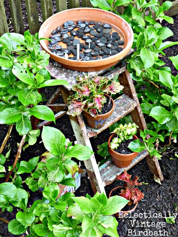 Eclectically Vintage  A terra cotta pot filled with water on a cute vintage step ladder becomes the perfect little birdbath anyone can make in a jiffy! - from Funky Junk Interiors