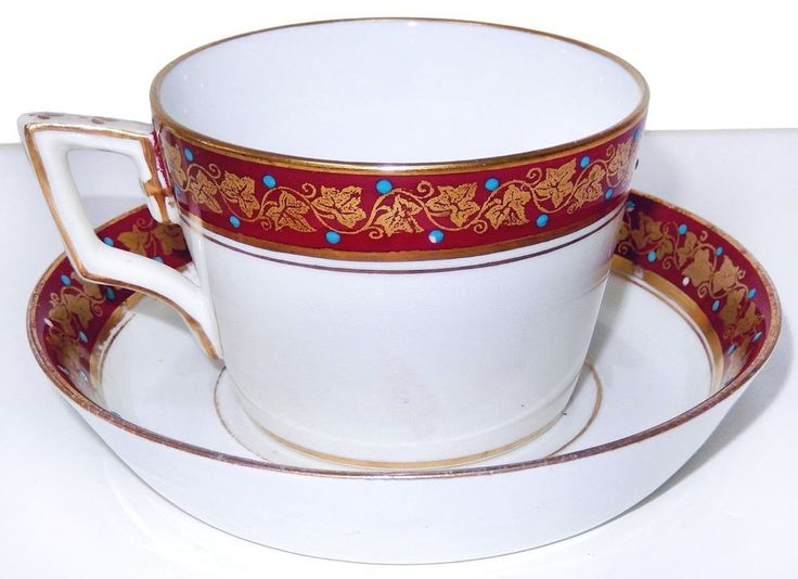 Antique Jeweled Porcelain Cup Saucer 4 1295 Red Gold Turquoise 1800s #EarlyGeorgian #Unknown