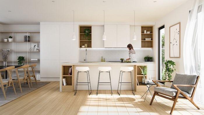 ▷ 1001 + conseils et idées pour aménager une cuisine moderne blanche - modele de salle a manger design