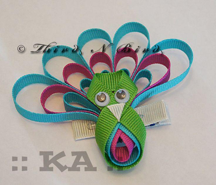 Peacock Bird Hair Clip Ribbon Sculpture Instruction Set via Etsy.