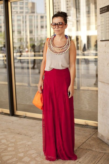 maxi skirt: Outfits, Maxi Dresses, Statement Necklaces, Gowns, Long Skirts, Maxidresses, Long Maxi Skirts, The Dresses, Red Maxi
