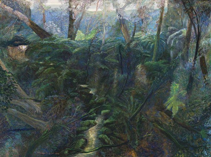 William Robinson (Australian, b. 1936), Forest with Ferns, Tallanbanna, 2003. Oil on linen, 92 x 122 cm.