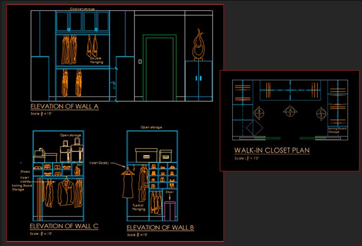 Computer Generated Plan and Elevations (Walls) of Walk-In Closet for Same Bedroom.