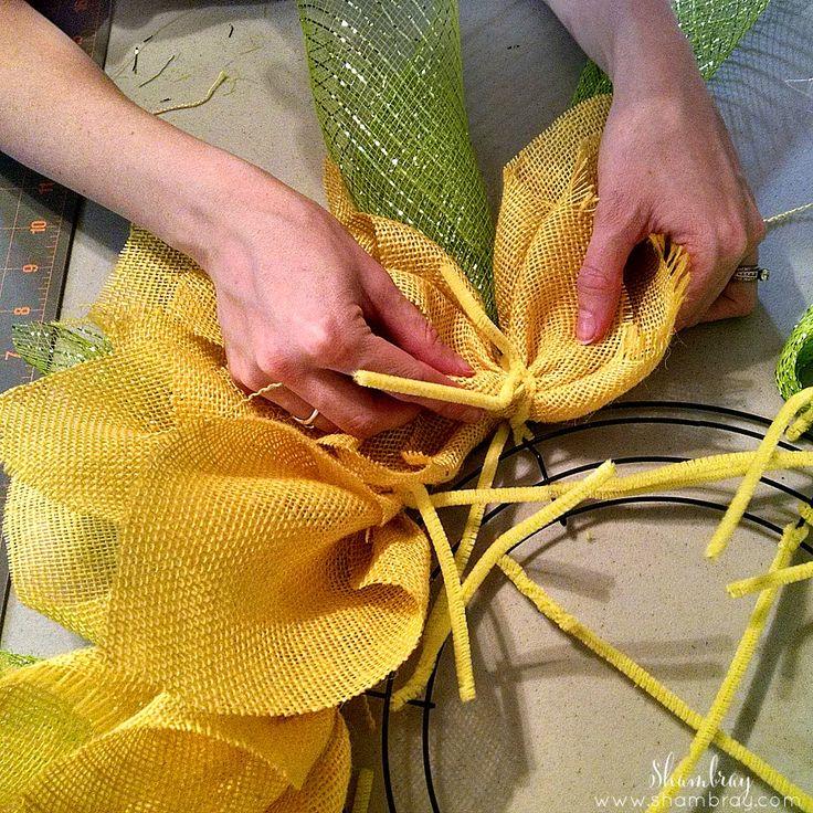 Sunflower burlap and mesh wreath tutorial