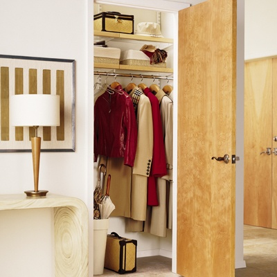Elfa Closet System. Birch + White Entry Closet. The Container Store.