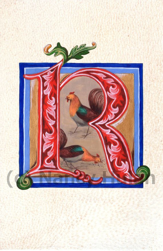 Medieval Illuminated Letter R This is an archival 4 x 6 print of my original artwork, painted in acrylics on goatskin parchment. It shows a