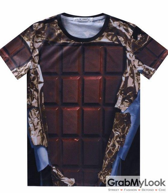 GrabMyLook Brown Chocolate Bar Mens Short Sleeves T Shirt