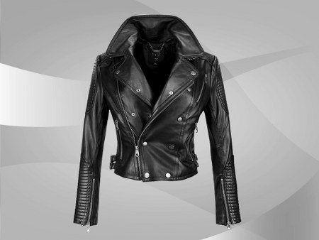 NWT Women's Motor Bike Leather Jacket Style FS-178