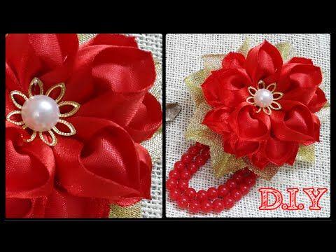 ♡ ❀ ♡ D.I.Y. Heart Shaped Petal Kanzashi Valentine's Day Flower ♡ ❀ ♡ - YouTube