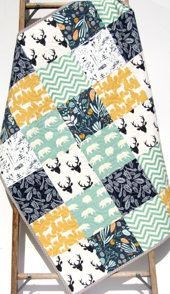 Deer Quilt, Woodland Animals, Bears Buck Modern, Navy Blue Yellow Teal, Southwestern Baby, Toddler, Crib Bed Blanket, Rustic Forest, Bedding by SunnysideDesigns2 on Etsy https://www.etsy.com/listing/250884489/deer-quilt-woodland-animals-bears-buck