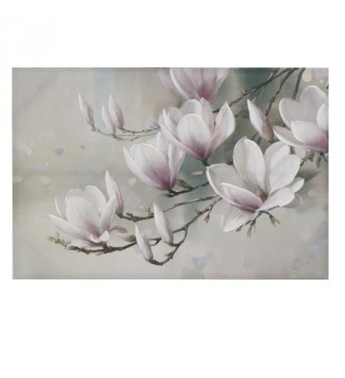 OIL WALL PAINTING CANVAS 'PINK_WHITE FLOWERS' 91X4X61