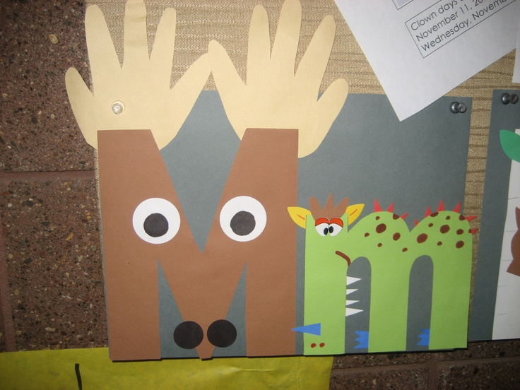 """Mm"" Letter of the week art project ~ Moose and monster {note to self: monkey instead of monster!}"