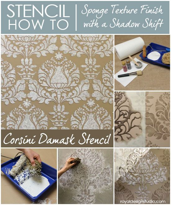 How to Stencil: Allover Corsini Damask stencil with a textured sponge finish and shadow shift technique.