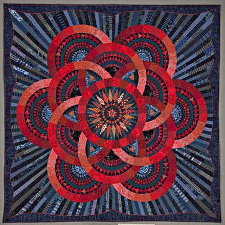 """Cinnabar and Indigo"" art #quilt by Judy Mathieson"
