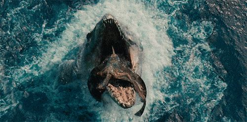 Mosasaurus eating a Pterodactyl in 'Jurassic World!'