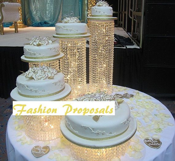 Wedding Cake Stand Cascade Waterfall Crystal Set Of 5 Wedding Acrylic Cake  Stands With A Battery Operated Led Light. Off Retail