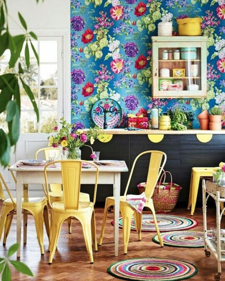 Colourful kitchen diner  Amazing floral wallpaper!