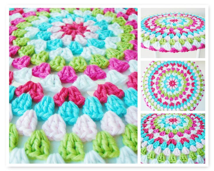 Here's a bright and colourful little pattern for today!  It's a stool cover from the fab Dutch blog AnneMarie's HaakBlog   (Note: you will need to translate it into English but it all seems quite simple to follow).