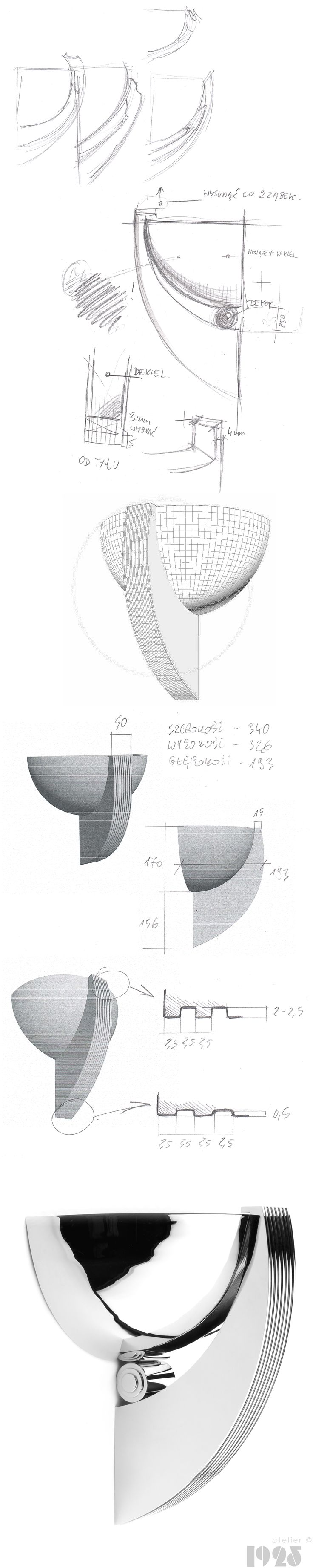 Sketches and design process of timeless and unique, art deco ispired sconce by atelier 1925