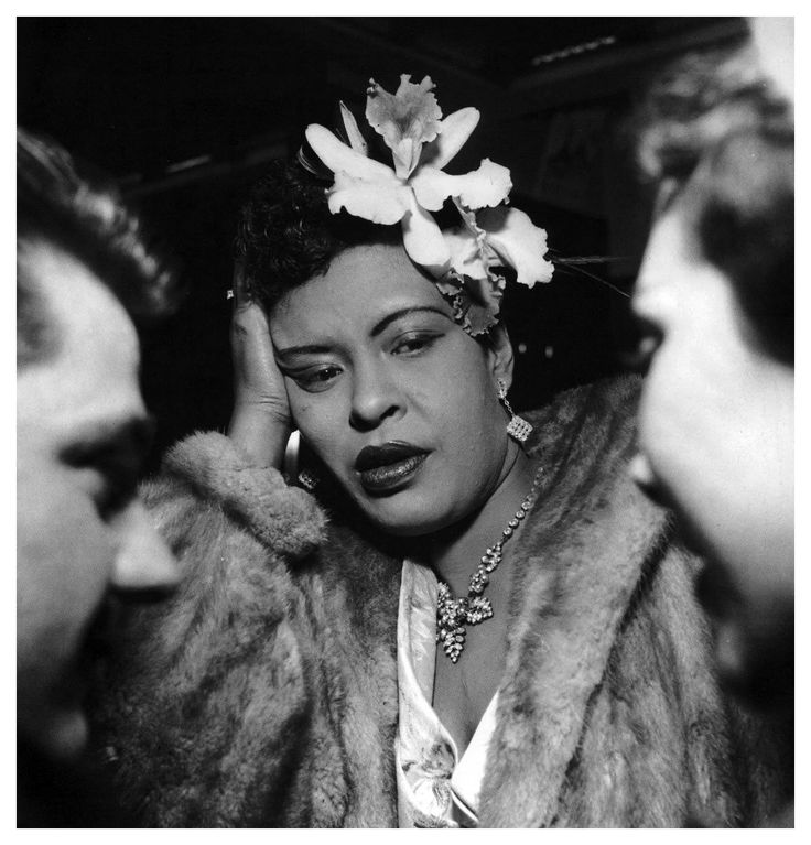 "Billie Holiday by Jean Pierre Leloir  ""There's no damn business like show business - you have to smile to keep from throwing up."""