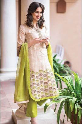 Semi-Stitched Beige and Green Designer Cotton Salwar Suit with Chiffon Dupatta - URB1A  to shop here: http://goo.gl/NGhO2D
