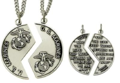 [Image: Sterling Silver U.S. Marine Mizpah Medal Necklace (His & Hers)] graduation gift