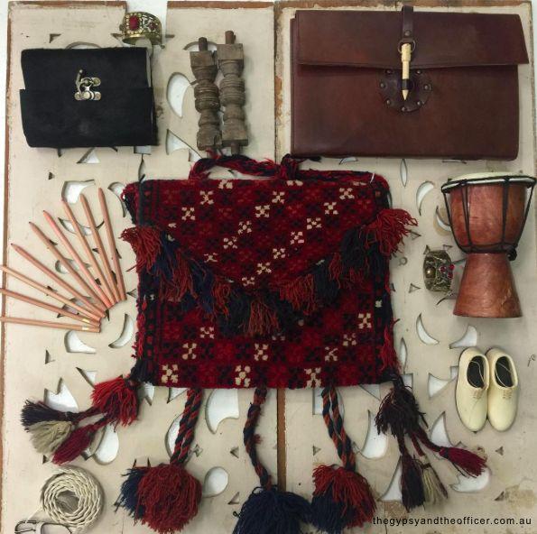 March to the beat of your own drum! #Fashion#fashionblogger#style#styleblogger#blog#bohemian#boho#bohochic#boholuxe#gypsy#gypset#retro#vintage#style#bohostyle#freespirit#shop#flatlay#bohobag#pompom#textile#carpetbag#journal#cowhide#hide#jewels