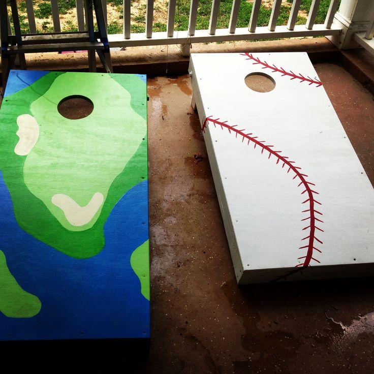 Sports corn hole boards