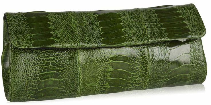 Naledi Copenhagen NB11 Emerald Green ostrich clutch SS14