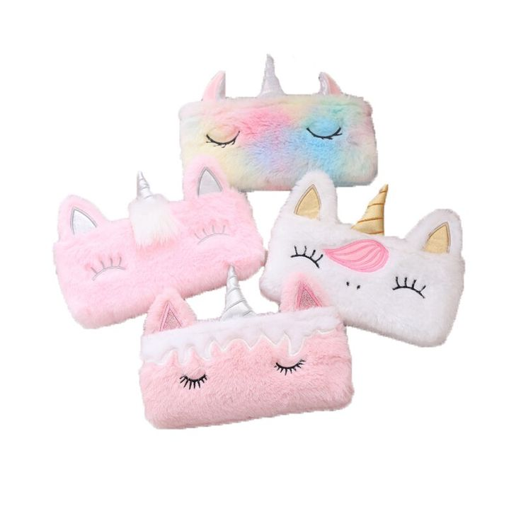 Kawaii Unicorn Pencil Case Box Bag Plush School Pencilcase for Girs Big Stationery Supplies Coin Purse Bag Back to School Gift