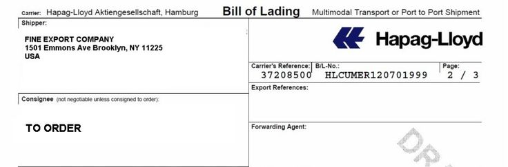 Printable Sample Blank Bill Of Lading Form