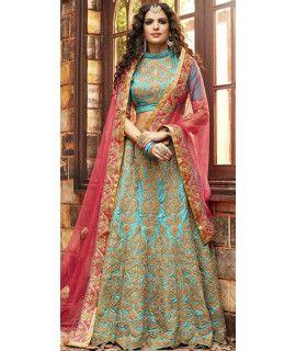 Vivously Blue And Beige Silk Lehenga Choli.
