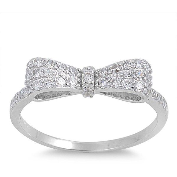 Micro Pave Cz Bow Tie Ring Sterling Silver 7mm (Size 5 10) (930 MKD) ❤ liked on Polyvore featuring jewelry, rings, cz pave ring, cz rings, sterling silver rings, pave ring and pave cubic zirconia ring