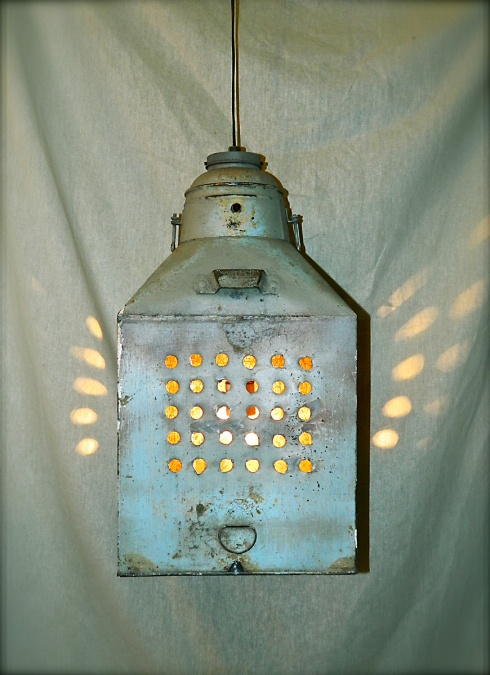 Primitive/Rustic swag light. Made from an upcycled flour sifter.