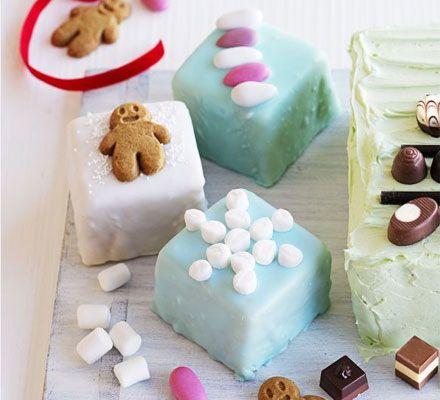 Festive fondant fancies recipe - BBC Good Food. You could easily ice a christmas traybake like this!