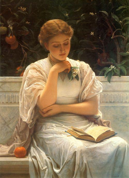 "Charles Edward Perugini (1839-1918), ""Girl Reading"""