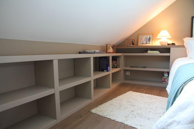 Les 25 meilleures id es concernant meuble sous pente sur - Amenagement chambre mansardee ...