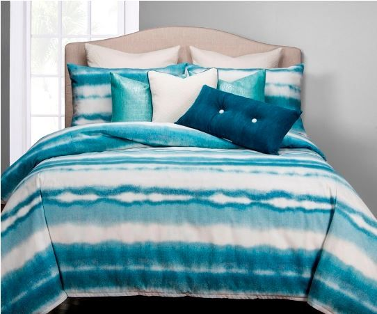 Beach Bum Coastal Bedding. I just love this fun summer look coastal bedding! This beautiful bedding is made in the USA and includes drapes up to 120 in. long as well as slipcovered chair to match, bedskirt or platform bed style. This bedding will let you decorate an entire bedroom with coordinating fabrics! Beautiful! Do you like?  Available at SeasideBeachDecor.com #coastalbedding #coastaldecor