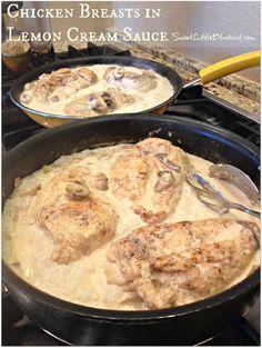 CHICKEN BREASTS IN LEMON CREAM SAUCE  |  SweetLittleBluebird.com