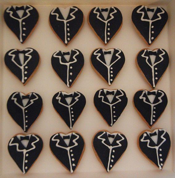 Heart shape wedding cookies groom coat