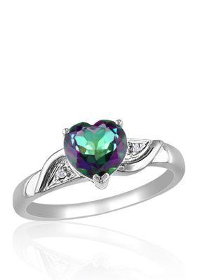 Belk  Co. Multi 10k White Gold Exotic Green Topaz and Diamond Ring