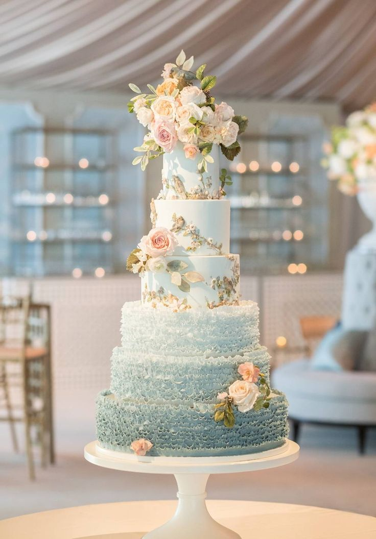 A Classe Ombre Cake with Pale Blue & Pink Flowers de Gournay Dreams - 6 tier wedding cake, blue wedding cake ideas