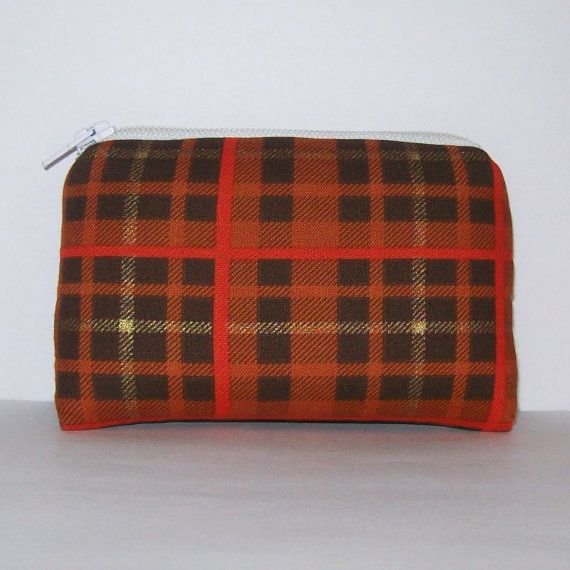 Plaid Pipe Pouch Orange Pouch Pipe Case Pipe Bag Padded by PouchAPalooza.com