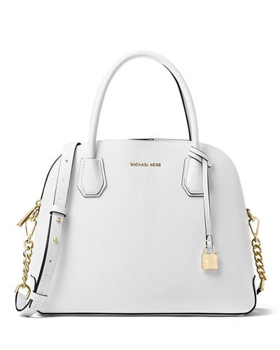 5dd6b97ded15 MICHAEL MICHAEL KORS MERCER LARGE DOME SATCHEL BAG. #michaelmichaelkors # bags #shoulder bags #hand bags #leather #satchel #lining #
