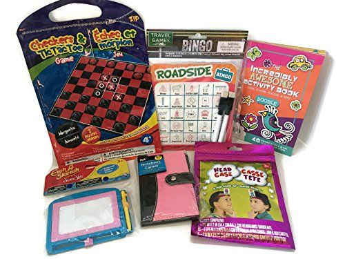 Travel Games For Girls - Bundle Of Fun For The Road, Boat Or Flying - 6 Items Of Fun  Hours Of Fun For The Road, Boat Or Plane - Bundle Of Travel Games - 6 Items of Fun  Ideal For School Age Girls Who Want Some Fun While They Are Traveling  Set Includes 3 Games: Road Bingo - Magnetic Checkers, And Head Case  1 Incredible Activity Book Full of Games, Stickers, Puzzle & More  1 Mini Etch A Sketch, And A Mini Notebook With Pen