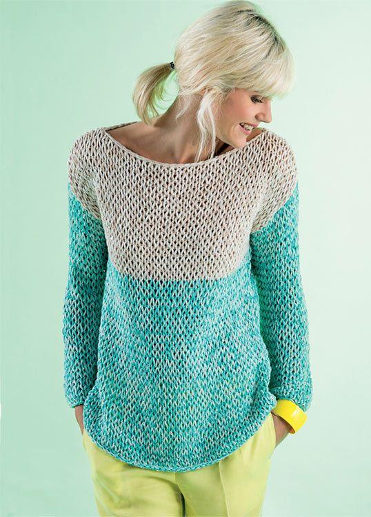 Modèle gratuit : Pull à manches longues au point rivière à tricoter