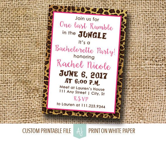 Leopard Print Bachelorette Invitation-Last Rumble in the Jungle- Bachelorette Invite or Hen Party, Printable File