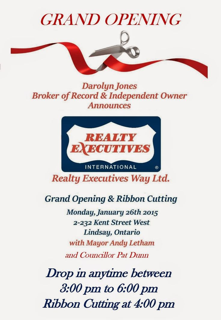 Grand Opening of Realty Executives Way Ltd. on January 26, 2015 in Lindsay (Kawartha Lakes) Ontario.  Please stop by between 3 & 6 pm to say hello to Darolyn Jones Broker of Record & Independent Owner and her Team!  Ribbon Cutting at 4pm with Mayor Andy Letham and Councillor Pat Dunn. For more information call 705-324-7171 or email darolyn@darolynjonesteam.com