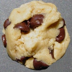 Chocolate Chip Cheesecake Cookies  2 cups all-purpose flour  1/2 teaspoon salt  1/2 teaspoon baking powder  1/8 teaspoon baking soda  10 tablespoons butter (1 stick plus 2 tablespoons)  1 cup sugar  1 egg  3 ounces cream cheese  1 teaspoon vanilla  12 ounces chocolate chips